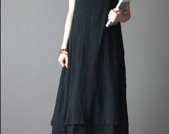 Black linen sundress-linen dress-women sundress-loose dress-maxi dress-sleeveless linen dress-holiday dress