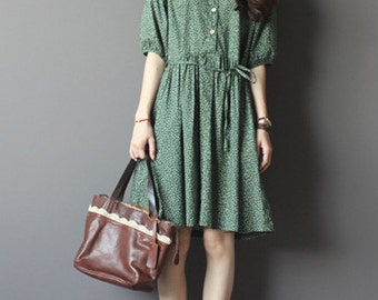 Green with floral cotton dress-half sleeve dress-loose dress-Knee-length dress-Peter Pan collars dress-holiday dress