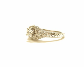 14k white gold art deco/ art nouveau vintage inspired diamond engagement ring