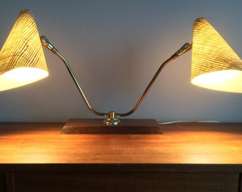 Mid Century Wall or Table Lamp with Fibreglass Shades