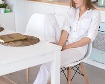 Pajamas 100% White Luxurious Cotton in White Stripes, Bridesmaid Pajama Set