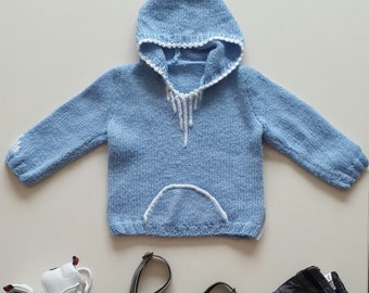 baby hooded sweater,child knitting clothes,gift for baby,children,sweater,boys,hooded,boy sweaters,baby shower,blue,kangaroo pockets,toddler