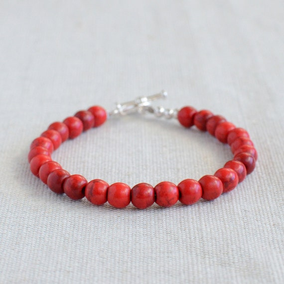 Red Howlite - Smooth Round Stone Bead Bracelet - Silver Toggle Clasp