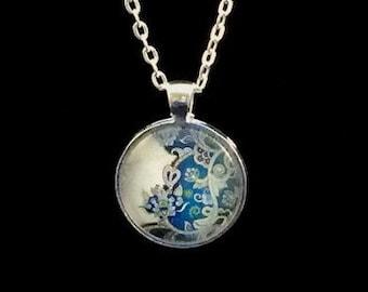 Ornate Blue round glass pendant necklace (ACC1-B1)