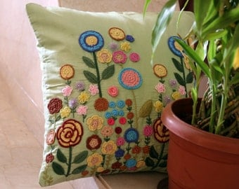 Bright Hand Embroidery Multi-Colored Flowers Patio Cushion Cover
