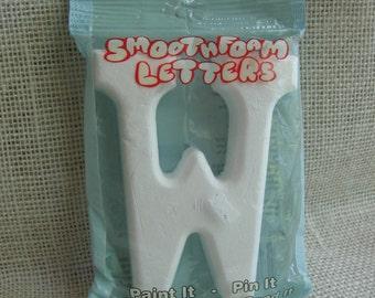 """Smoothfoam Letter """"W"""" or """"M"""", 4"""" Styrofoam Letter, Nursery Letter, Crafting Letter, White Foam Letter"""