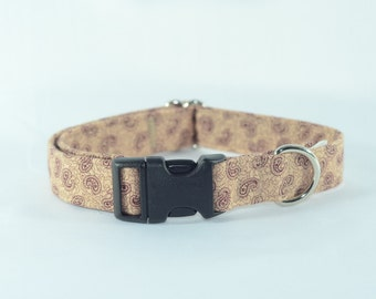 Antique Paisley Dog Collar, Personalized, Engraved, ID Buckle
