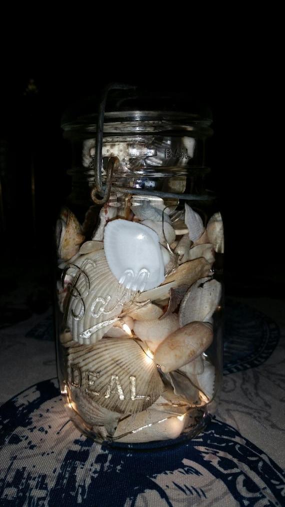 Seashell String Lights Outdoor : Indoor/Outdoor Vintage Quart Mason Jar Fairy by LoehrHillFarm