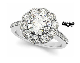 Moissanite Engagement Ring 14kt White Gold, Forever One, Wedding Ring, Round Halo, Side Diamonds #7178