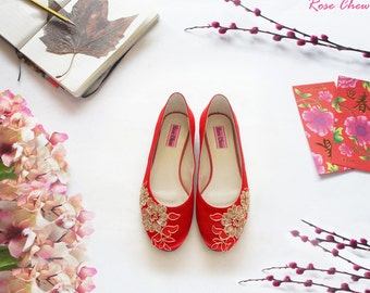 Bridesmaid shoes, bridal shoes, red ballet flats, red wedding shoes, lace wedding shoes, Chinese wedding, wedding flats, for her, size39-41