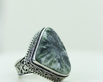 Size 8 - Russian Seraphinite 925 S0LID (Nickel Free) Sterling Silver Vintage Setting Ring & FREE Worldwide Express Shipping R1721