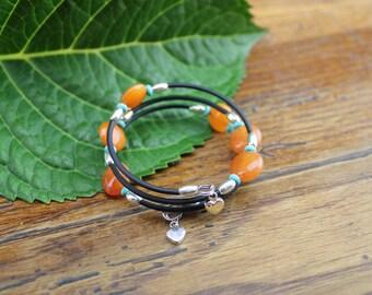 Gazania - Brilliant Orange and Turquoise Wrap Bracelet