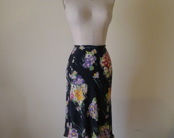 Vintage Betsey Johnson Floral High Waisted Midi Bias Cut Skirt size 12