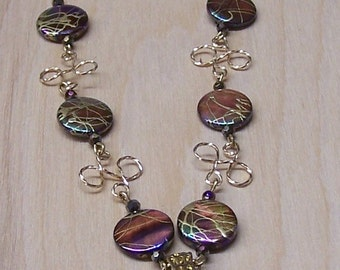 Purple Abalone Shell Beads with Twisted Gold-filled Wire Necklace