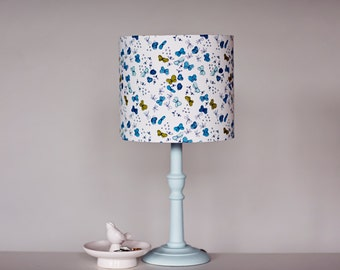 Butterfly lampshade, butterflies, butterfly decor, butterfly lighting, blue decor, blue lighting, blue summer decor, lamp shades, table lamp