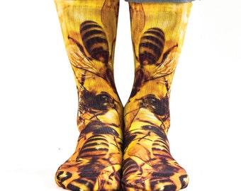 Samson® Bees Hand Printed Socks Sublimation Animal Honey Bumblebee Quality Print UK