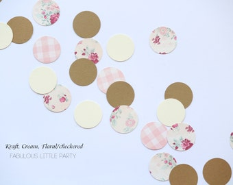 Shabby Chic Party Confetti Vintage Rose Floral, Kraft, Cream Circle Paris Baby/Boho Bridal Shower/1st Birthday Decor/Shabby Chic Decorations