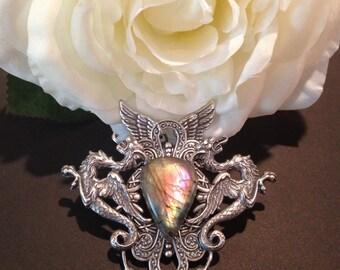 Athena - Fantasy Mythology Inspired Vintage Purple Labradorite Pendant Jewelry