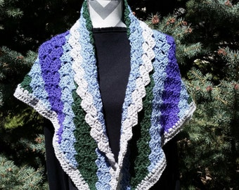 Crochet Shawl, Crochet Cape, Blue Purple Green Gray Shawl, Crochet Shawl