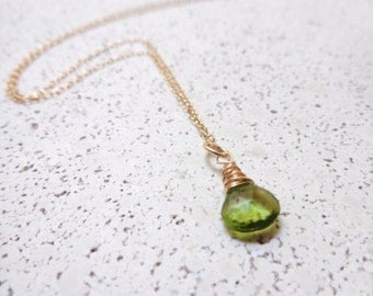 Wire Wrapped Peridot Necklace 14K Gold Filled Dainty Necklace Layering Necklace August Birthstone