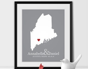 Maine Map Art, Augusta Maine Wedding Gift for Couples Wedding Gift for Anniversary Gift for Him Maine Gift -Any STATE