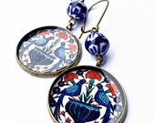 CHIKA Middle Eastern Ottoman design Earrings - Seljuk - red and blue - turkish