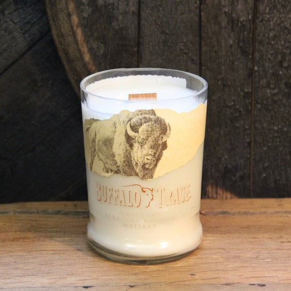 Buffalo Trace Whiskey Candle - Groom Gift, Anniversary Gift, Wedding Gift, Recyled Bourbon Bottle 1L, 22oz Soy Wax Wood Wick Handmade Candle