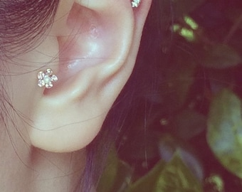 Petite Flower(5mm) with Pearl Barbell Cartilage/Tragus,Helix,Conch,Ear Piercing 16 Gauge(EPC-43),Surgical Steel, Single Earring, Clear,Pink