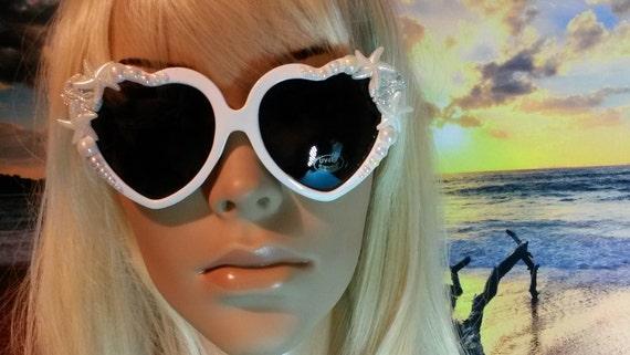 I'm Really A MERMAID Sunglasses Sun Glasses Sunnies Heart Shaped Ariel Love Beach Sea Ocean Nautical Pinup The Little  Retro Vintage A005
