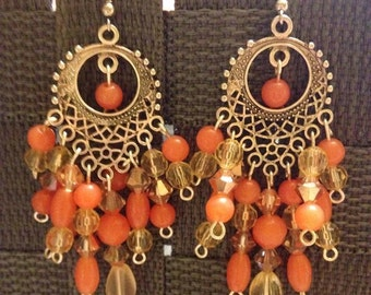Coral Beaded Silver Chandelier Earrings