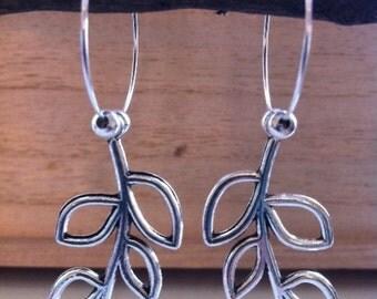 Silver Leaf Charms on Silver Hoop Earrings