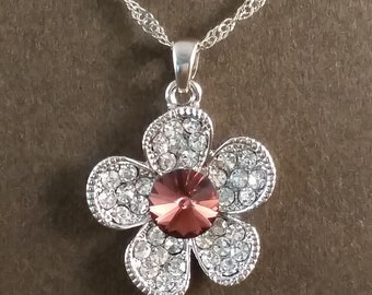 Flower Necklace with Crystal Center