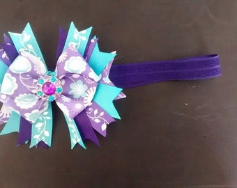 Purple and teal hair bow