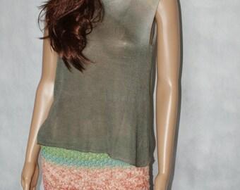 cashmere / silk top, handmade, handdyed  , grey , cashmere/ silk  , sleeveless,   top,ooak
