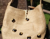Purse Hand Made Out of Coffee Bean Bag Burlap with Funky Vintage Buttons