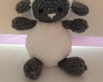 Crochet Lamb Stuffed Animal- Gray, Baby Lamb Amigurumi, Lamb Doll
