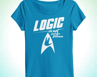 Logic It's Not Just For Vulcans women's scoopneck tee inspired by Star Trek and critical thought