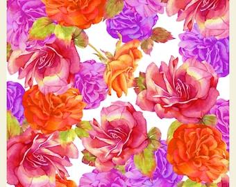 Watercolour Flower Art Card ROSES and BEGONIAS, Handmade Original Watercolour Painting, Handmade Printed Original Greeting Card, Blank Card