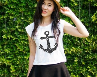 Anchor TShirt Womens Anchor Shirt Muscle Tee Crop Top Tank Graphic Tee for Teens Outfits