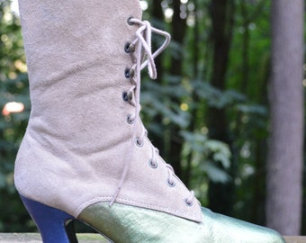 Size 6.5M - Elegant Cream Suede Colin Stuart Lace Up Boot