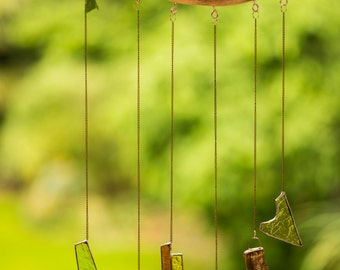 Abstract Glass and Bell Windchime