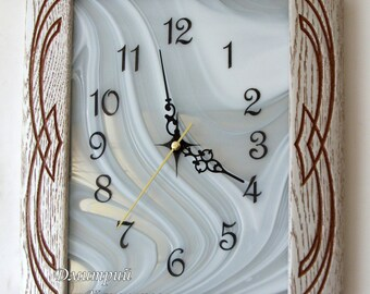 Wall clock for interior decoration, home, living room, office, wood carving to stained glass, oak, new brand, design, art