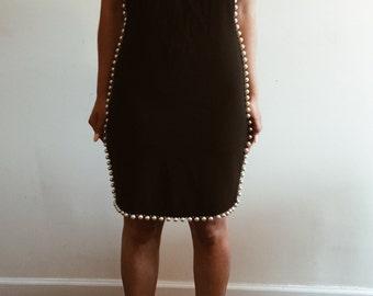 Vintage Black Pearl Trim Cocktail Dress