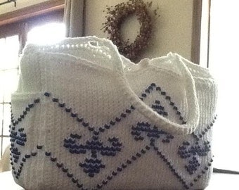 Tunisian Crochet Handbag with beading