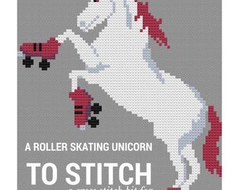 Cross Stitch Pattern: Roller Skating Unicorn