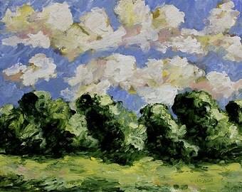 Afternoon Turbulence, Landscape Painting, Original Art, Texture, Clouds, Blue Sky, Trees, Impressionist Landscape, Winjimir, Home Decor, Art