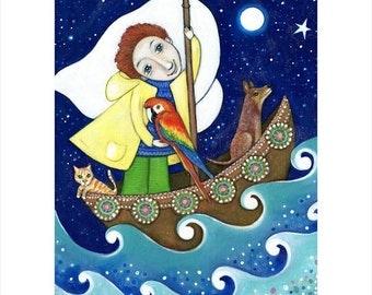 Boys A3 wall art print painting red hair blue eyes cat macaw bird dog gift for son boy nephew boys ocean wall art