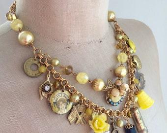 SALE Vintage Charm Necklace, Vintage Vanity, Perfume, lipstick  - Yellow