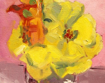 Original Still Life, Oil Painting, Yellow Roses, Red Lily, Small 6x8 Canvas, Flowers Home Decor, Pink Orange Floral, Wall Art, Romantic