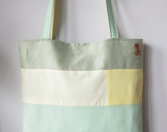 ON SALE Down The Road Lemon Yellow and Pinstripe Lime Green Tote Bag